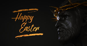 Happy Easter Text Jesus Christ Statue with Gold Crown of Thorns. 3D Rendering Side Angle Digital Art Royalty Free Stock Image