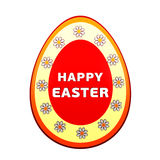 Happy Easter over 3d easter egg with flowers Royalty Free Stock Image