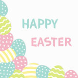 Happy Easter text. Painted egg corner frame. Painting shell. Heart, star, line shape pattern. Light color. Greeting card. Stock Images