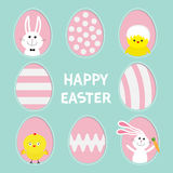 Happy Easter text. Painted pattern egg frame set Bunny rabbit hare holding carrot. Chicken bird with shell. Dash line contour. Gre Stock Photo