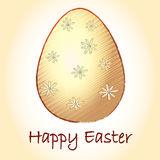 Happy Easter and striped beige egg with flowers Stock Photos