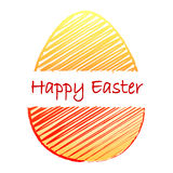 Happy Easter and striped yellow red egg Royalty Free Stock Images
