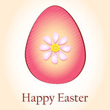 Happy Easter and striped rink egg with flower Stock Images