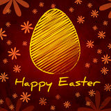 Happy Easter and yellow egg over brown old paper background with Royalty Free Stock Image