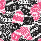 BUSHY EASTER PAINTED HAND DRAWEGGS. FIZZLE ORNAMENT HOLIDAY TEXTURE. SEAMLESS VETOR PATTERN. HAPPY EASTER TEXTURE. SEAMLESS VECTOR PATTER. EASTER PAINTED HAND Stock Photography