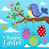 Happy Easter theme with bird and eggs 1 Stock Images