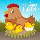 Happy Easter theme with hen and chickens Stock Photo