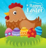 Happy Easter theme with hen and eggs Royalty Free Stock Images