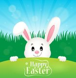 Happy Easter theme with lurking bunny Stock Photos