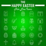 Happy Easter thin line icon set, holiday symbols. Collection, vector sketches, logo illustrations, celebration signs linear pictograms package isolated on green royalty free illustration