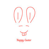 Happy easter with thin line rabbit muzzle Royalty Free Stock Photography