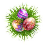 Happy Easter. Three Brightly Colored Easter Eggs on a Round Patch of Green Grass Over White Background for the Organization of Festive Season Royalty Free Stock Photos