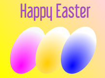 Happy Easter with three colored eggs Royalty Free Stock Images