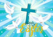 Happy Easter. Three doves and cross in blue sky. Royalty Free Stock Photo