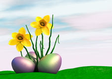 Happy Easter. Three easter eggs with daffodil flower Royalty Free Stock Image