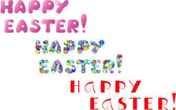 Happy easter. Three types of happy easter lettering. vector illustration Royalty Free Stock Image
