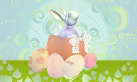 Happy easter. Ticket happy easter with eggs and rabbit Stock Photo