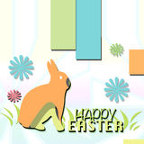 Happy easter. Ticket with rabbit and geometric forms Stock Photo