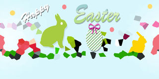 Happy easter. Ticket with rabbit and geometric forms Royalty Free Stock Images