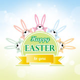Happy easter to you bunny cartoon greeting card Stock Photo