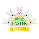 Happy easter to you bunny cartoon greeting card. Happy easter to you greeting card - bunny cartoon animal characters and words on white background Stock Photography