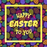Happy easter to you greeting card with eggs pattern colorful style and yellow frame Stock Images