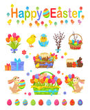 Happy Easter Traditional Elements Concept Poster. On white. Vector collection of hatched and unhatched chickens, basket with easter eggs, willow tree bunch Stock Images