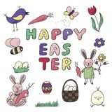 Happy Easter traditional festive symbol set. Such as bunny, egg basket, flowers, wreath, birds, butterfly and other decorative elements in cute and childish Stock Photos