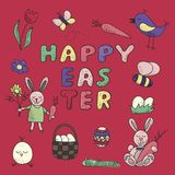 Happy Easter traditional festive symbol set. Such as bunny, egg basket, flowers, wreath, birds, butterfly and other decorative elements in cute and childish Stock Photo