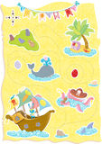 Happy Easter Treasure Map with cute animals Royalty Free Stock Photo