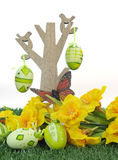Happy Easter tree with butterfly and colorful pink and green Easter Eggs Royalty Free Stock Photo