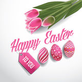 Happy Easter tulips and eggs design EPS 10 vector Stock Photo