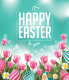 Happy Easter tulips eggs and text. EPS 10 vector royalty free stock illustration for greeting card, ad, promotion, poster, flier, blog, article, social media Stock Photography
