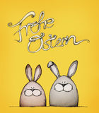Happy easter with two easter bunnies. Illustration of two easter bunnies with a claim Stock Photo