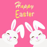 Happy easter with two rabbits Royalty Free Stock Images