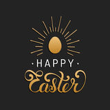 Happy Easter type greeting card with egg. Religious vector illustration in gold and black colors for poster, flyer. Royalty Free Stock Images
