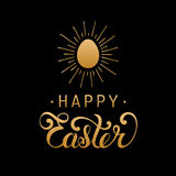 Happy Easter type greeting card with egg. Religious vector illustration in gold and black colors for poster, flyer. Royalty Free Stock Photos