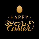 Happy Easter type greeting card with egg. Religious vector illustration in gold and black colors for poster, flyer. Stock Images