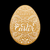 Happy Easter type greeting card in the egg shape. Religious holiday vector illustration for poster, flyer etc. Royalty Free Stock Images