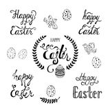 Happy Easter typographic background. Set of calligraphic inscription `Happy Easter`, eggs, birds, branches. Stock Photography
