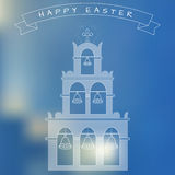 Happy Easter Typographic Greeting Card On Blured Stock Images