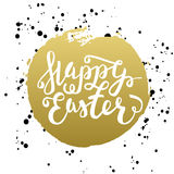 Happy Easter typographic greeting card. Easter Lettering with wa Stock Photos