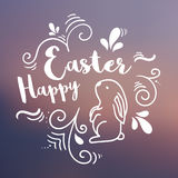 Happy Easter typographical  background with easter Bunny and  decorations. Vector banner Royalty Free Stock Photography