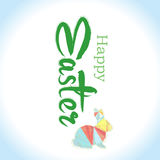 Happy Easter Typographical Background with easter bunny, easter Stock Photography