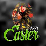 Happy Easter Typographical Background with ornate Stock Photo