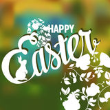 Happy Easter Typographical Background with ornate Royalty Free Stock Photo