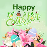 Happy Easter typographical card & background with flower bouquet Royalty Free Stock Photography