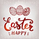 Happy Easter typographical and eggs on holiday background with light and stars. Drawn Pascha card, logotype, icon, card, invitation. Hand sketched Royalty Free Stock Photos