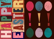 Happy Easter! Typographical grunge Easter greeting card with stylized ornamental eggs. Retro  illustration. Stock Images