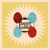 Happy Easter! Typographical grunge Easter greeting card with stylized ornamental eggs. Retro vector illustration. Royalty Free Stock Images